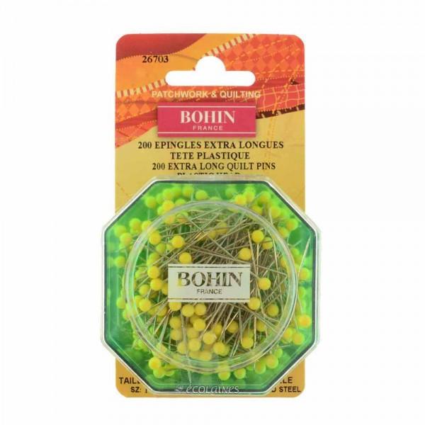 Epingles extra longues tête plastique jaune Bohin