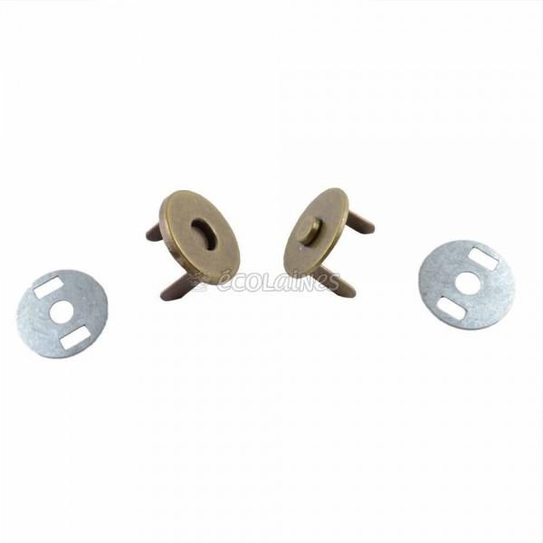 Bouton magnétique invisible 18 mm bronze