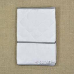 Protège carnet de santé à broder blanc biais gris foncé