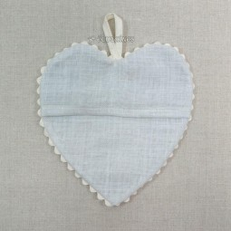 Coeur à broder en lin Gris clair