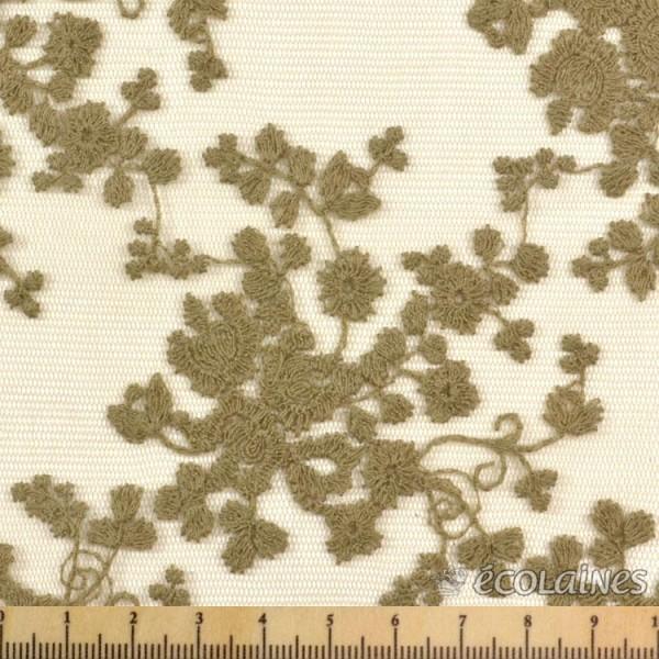 Tissu dentelle rétro - Kaki