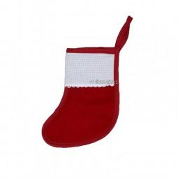 Petite botte de Noël à broder rouge