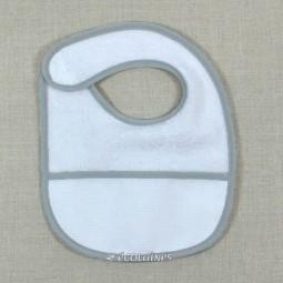 Bavoir à broder biais gris clair à scratch naissance