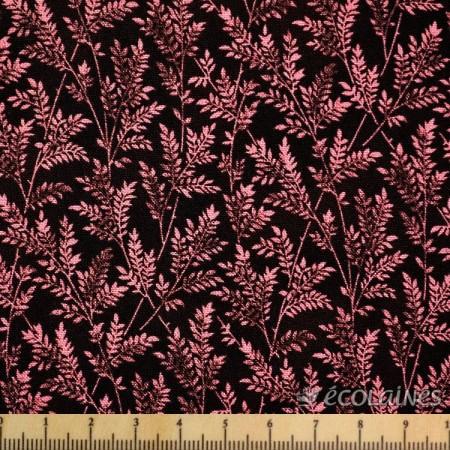 Tissu Branchage rose fond prune