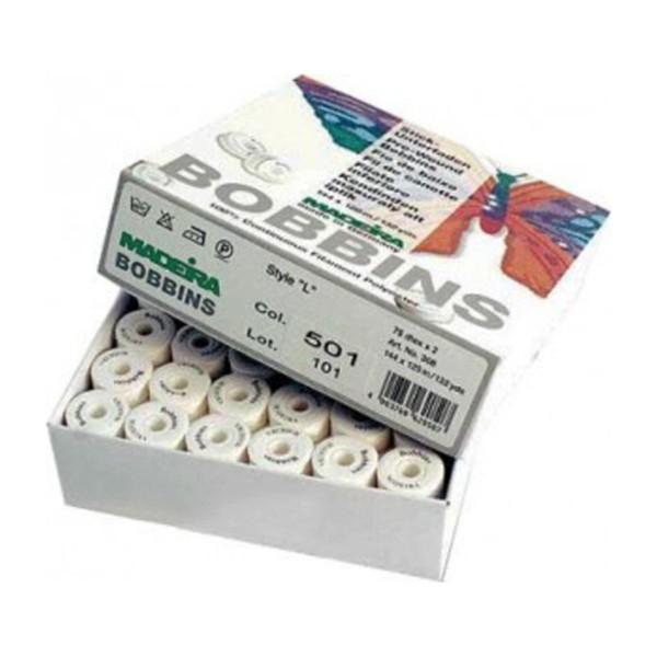 Boîte de 144 canettes pré-remplies fil de canette blanc Madeira