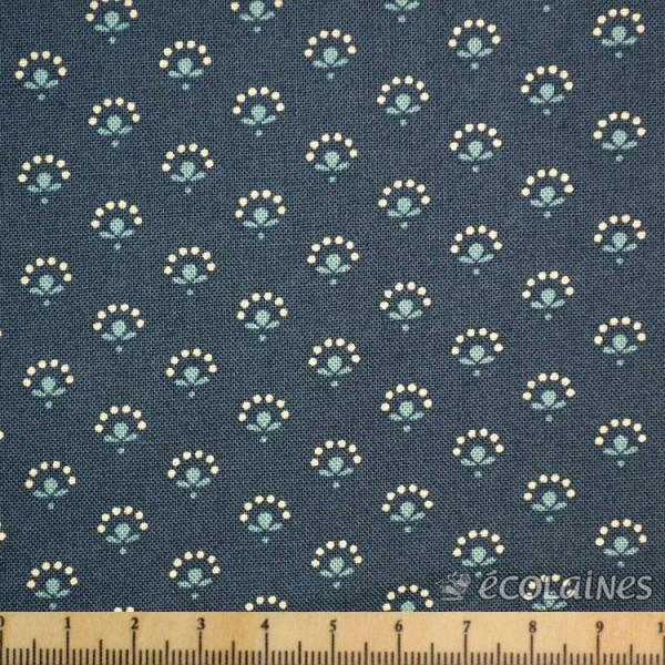 Tissu Moda - Petites fleurs bleu gris