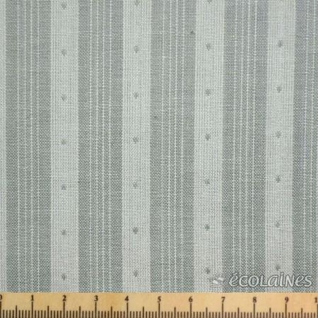 Tissu Jen Kingwell - Rayé pointillé gris crème