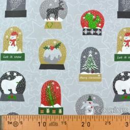 Tissu Noël - Boule à neige fond gris