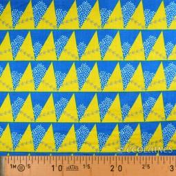 Tissu Echino - Double gaze Mill bleu et moutarde