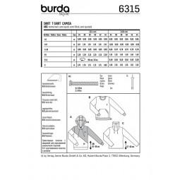 Patron Burda 6315 - Sweat shirt à capuche, col droit ou classique