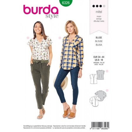 Patron Burda 6326 - Blouse encolure en V