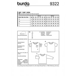 Patron Burda 9322 - T-shirt pour enfant