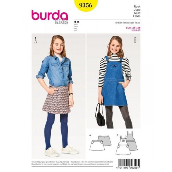 Patron Burda 9356 - Jupe à bavette pour enfant