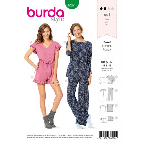 Patron Burda 6261 - Pyjama et pyjashort