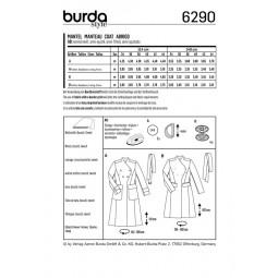 Patron Burda 6290 - Manteau cintré