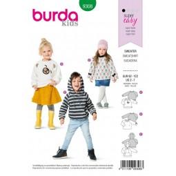Patron Burda 9308 - Sweat-shirt à capuche enfant