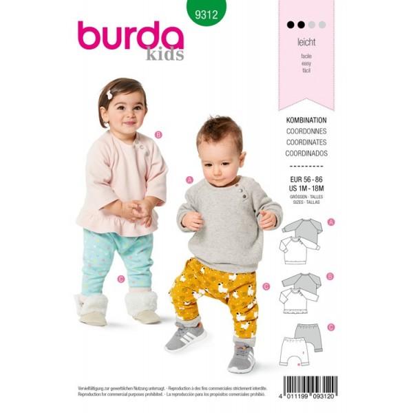 Patron Burda 9312 - Tee-shirt et pantalon élastique enfant