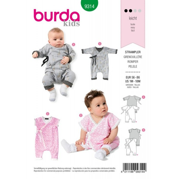 Patron Burda 9314 - Grenouillère bébé