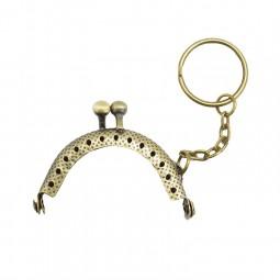 Fermoir porte monnaie bronze doré 4,7 cm avec anneau