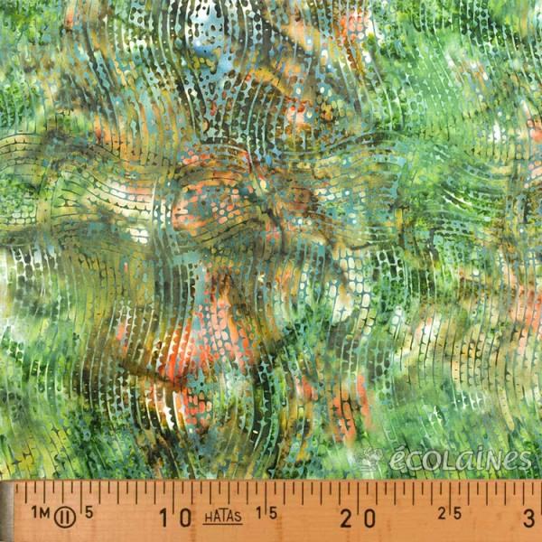 Tissu batik - Ondulation fond nuancé kaki vert brun