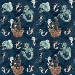 Tissu double gaze de coton Bio La Panda Love Fabrics - Merboy sea