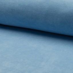 Tissu jersey velours Bleu azur