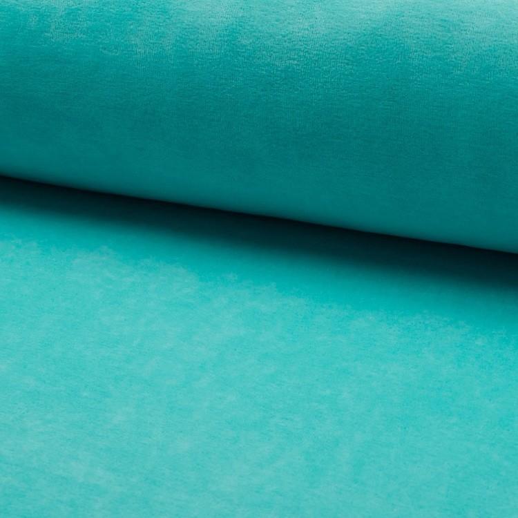 Tissu jersey velours Turquoise