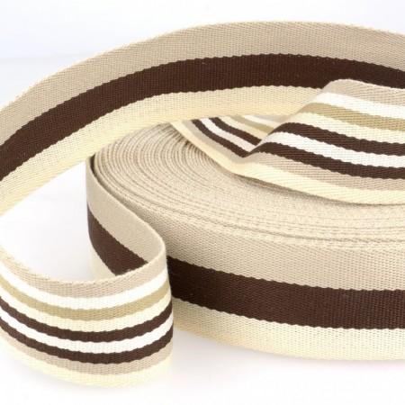 Sangle stripe double face 40 mm - Beige marron