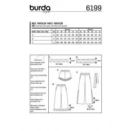 Patron Burda 6199 - Pantalon léger volantés taille élastiquée