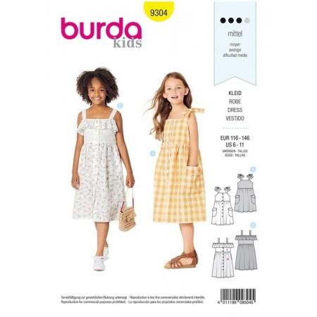 Patron Burda 9304 - Robe chemise fille à bretelles & col bardot
