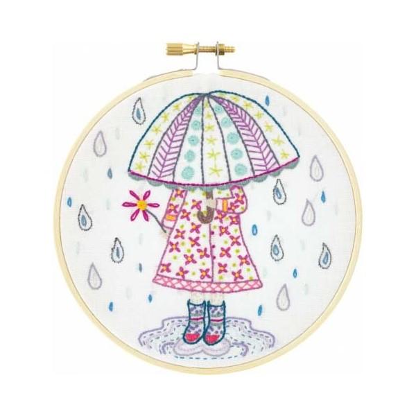 Kit de broderie - Emilie aime la pluie