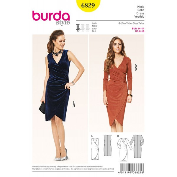 Patron Burda 6829 - Robe portefeuille