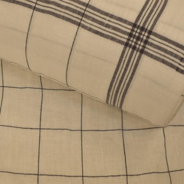 Torchon en lin et coton - Bistrot lavé blanc noir