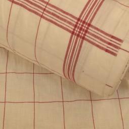 Torchon en lin et coton - Bistrot blanc et rouge
