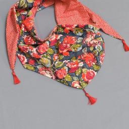 Kit de couture : Chèche Art Gallery rose rouge à pois