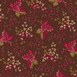 Tissu Di Ford - Annes english scrapbook - Feuilles tombantes bourgogne