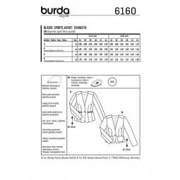 Patron Burda 6160 - Veste blazer encolure en V