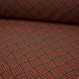 Tissu polyester extensible - Trait rouge fond noir
