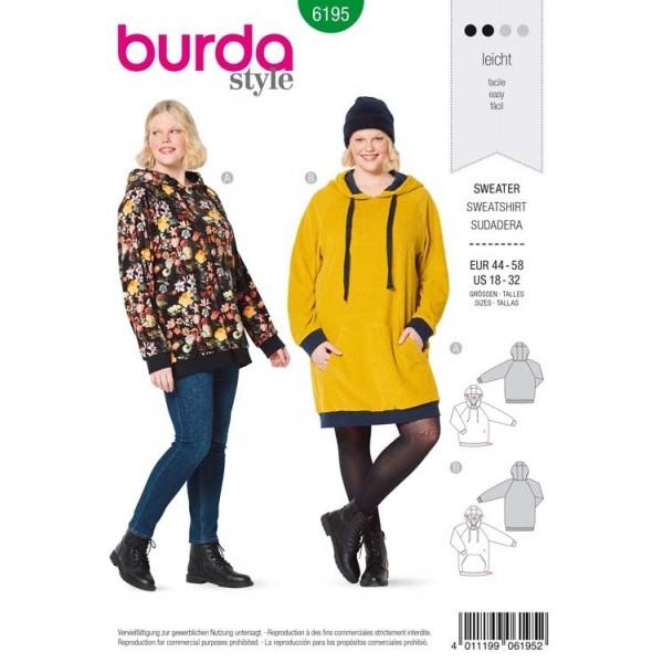 Patron Burda 6195 - Sweat à capuche hoodie manches raglan