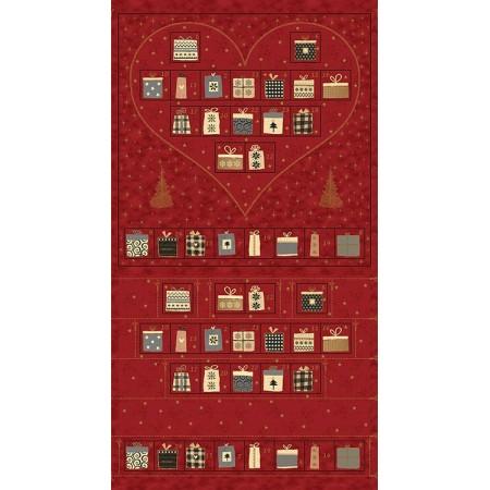 Tissu Noël - Magic christmas rouge - Calendrier de l'avent