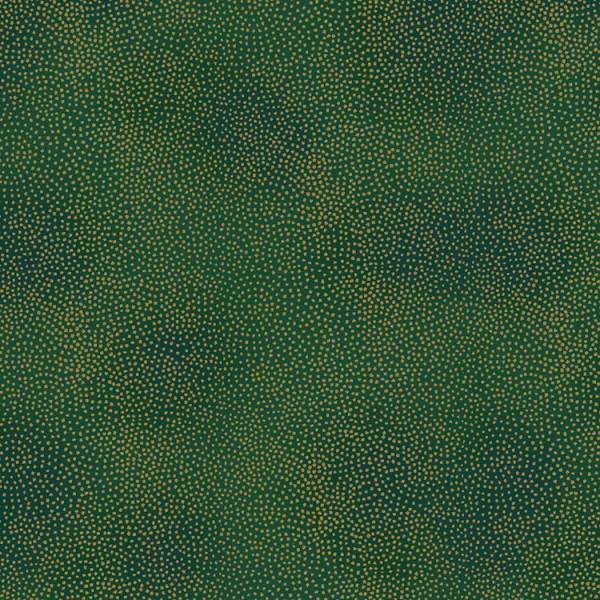 Tissu Noël - Amazing stars - Pois dorés fond vert