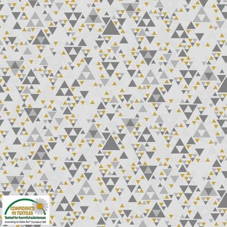 Tissu Noël - Sparkle - Triangles scintillants dorés gris
