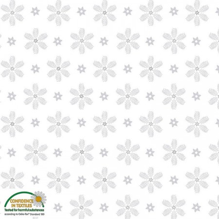 Tissu Noël - Magic christmas - Flocons de pin argentés fond blanc