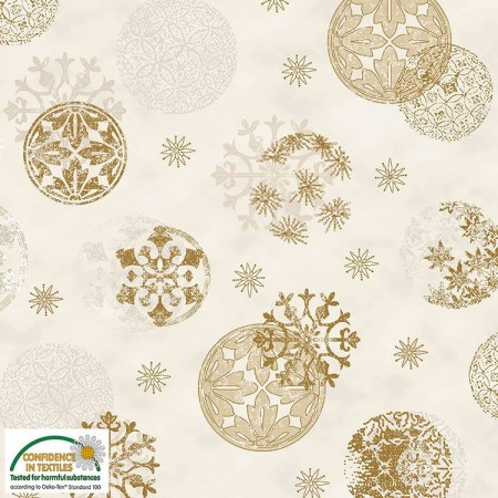 Tissu Noël - Magic christmas - Boules de Noël dorées fond écru