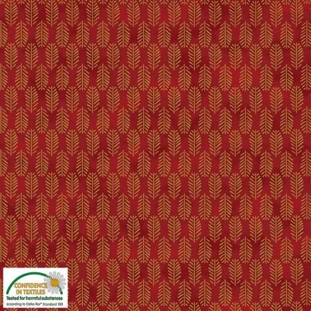 Tissu Noël - Magic christmas - Branches de pins dorées fond rouge