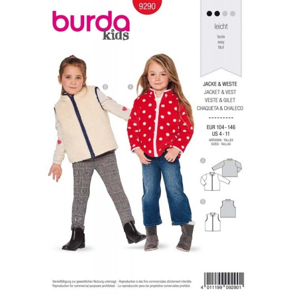 Patron Burda 9290 - Veste, gilet enfant avec fermeture à glissière