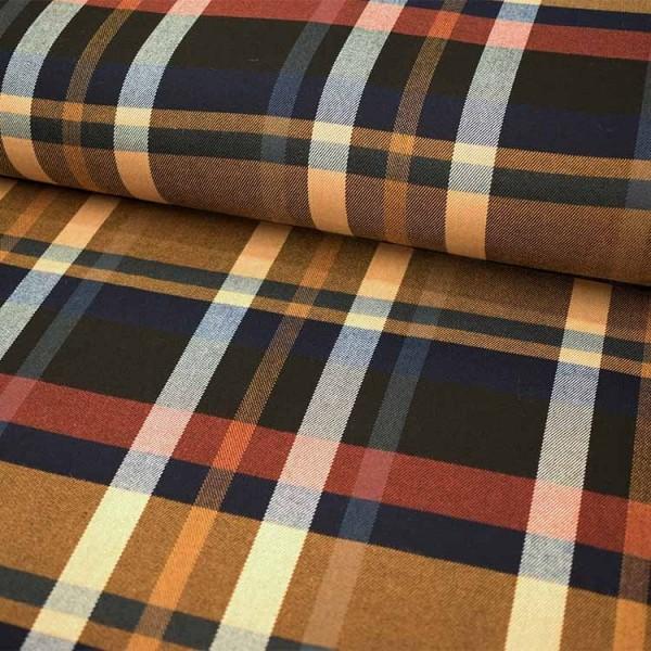 Tissu Polyester Viscose - Carreaux noir bordeaux rouge