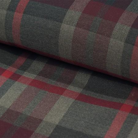 Tissu Polyester Viscose - Carreaux bordeaux gris noir