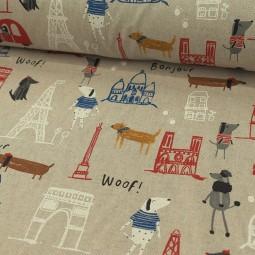 Tissu d'ameublement - Un chien à Paris