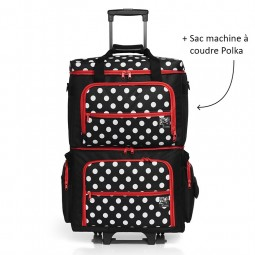Valise à roulettes polka